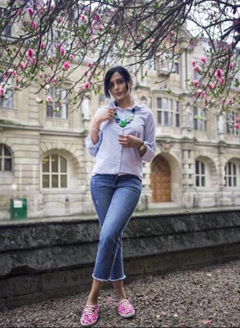 Everyday Look  #whiteshirt #white #buttonedshirt #jeans #statementjeans #blue #denims #bluedenims #watch #necklace #stringnecklace #greenneckpiece  #shoes #statementshoes #pinkshoes #watch #spring #springsummer #summer-style #summer-fashion #fashion #fashionblogger #indianfashionblogger #ukblogger #styleadvice #styleaddicr #summers #summer-looks #springsummer2018