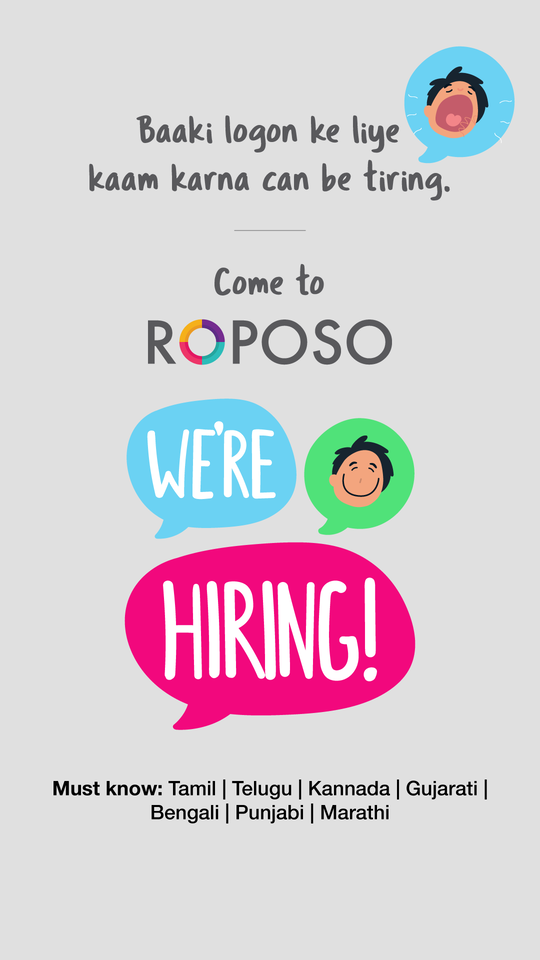 Work in Gurgaon! Work at Roposo!  Send your updated resumes at careers@roposo.com   #RoposoHiring