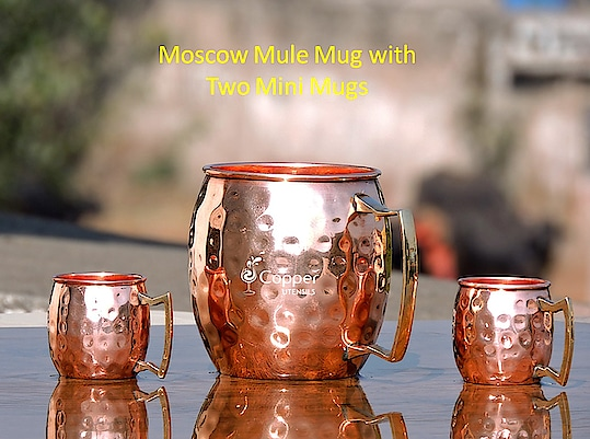 Hammered Copper Moscow Mule Mug with Two Matching Mini Mugs