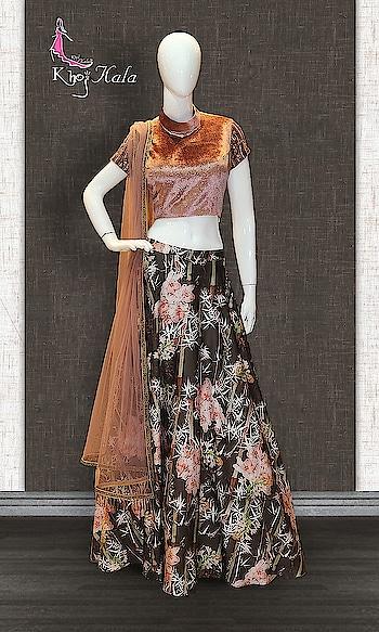 MOUSE AND DARK BROWN PARTY WEAR LEHENGA  http://www.khojkaladesign.com/lehenga/mouse-and-dark-brown-party-wear-lehenga.html  •FABRIC:- IMPORTED FABRIC  •PRINTED FABRIC •SHANTOON  •NET  SKU: KHOJ7162  Rs. 15,950  #queen #trends #glitter #girls #New #fashion #lehenga  #lehenga for wedding