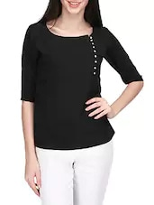 Black Solid Top  color :   black material :   polyester sleeve type :   short sleeves transparency of the fabric :   not transparent  #women #clothing #western #tops #designer #printed #stylish #trendy #comfortable #cotton #viscose   Buy Now:- https://bit.ly/2pKxtBn