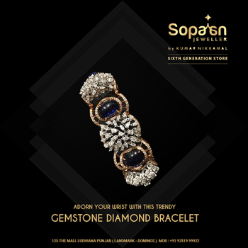 The 'Gemstone Diamond Bracelet' with rare combination of semi-precious blue oval stones along with sparkling Diamonds reflects the elegance and beauty of Sopaan designs! . Link:  https://bit.ly/2s8uO6P . #SopaanJeweller💍💎💍 #Ropos #DiamondBracelet #Gemstone #RoposoDiaries #FashionJewellery #WeddingCollection # #Ruby #Indianfashionjewellery  #Diamond #KumarNikkamal #Picoftheday #TraditionalJewellery #Sopaan #Ludhiana