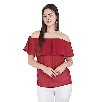 #girlstop  #top  #womentop #cottontop ##croptop#offshouldertop#bluecolor#openhair#lakmd9to5lipshades#pinkshades  #offshouldertop  #casualtop  #stylishtop #designertops  #womenfashion  For Buy click on storefront link or images:  Title-SIVYATI Stylish and Trendy Solid Red Off Shoulder Ruffle Top for Women   Price-499  Link- https://www.amazon.in/dp/B07D5TBL3G?th=1&psc=1