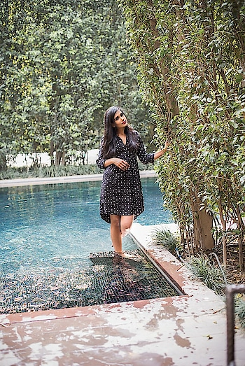Black Polka dot dress  #blackdress #polkadots #polkadotdress #blackpolkadot #summerdress #summeroutfit #everydaylook #styleadvice #summer-fashion #fashionblogger #indianfashionblogger #ukfashionblogger #styleadvice #ootd #ropo-style