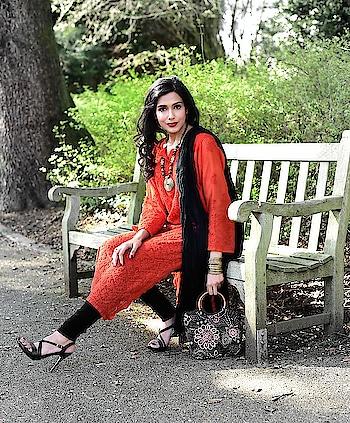 Indian Ethnic Wear   #lucknowchikankari #chikankarikurta #orangekurta #indianwear #ethnic #traditionalstyle #traditionalwear #indianoutfit #embroideredbag #blackbag #tribalneckpiece #bangles #goldenbangles #suit #chikankarisuit #indiansuit #blackheels #fashionupdate #fashionblogger #indianfashionblogger #ukblogger #ukfashionblogger #ropo-love #ropo-style #roposo-fashiondiaries