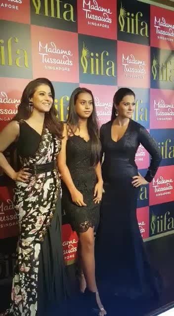 Kajol unveiled her wax statue at Madame Tussauds in Singapore with husband Ajay Devgan and daughter Nysa... #bollywood #kajoldevgan #ajaydevgan #nysadevgan #waxstatues #madametussauds #madametussaudssingapore #different-is-beautiful