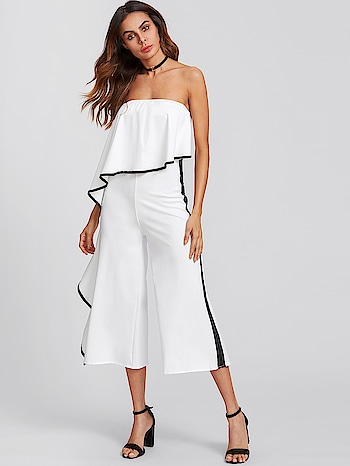 Ruffle Strapless Polyester High Waist White Jumpsuit Website Link-https://goo.gl/r2q4BT . . . . . #jumpsuits #coordser #rompers #style #clothing #apparel #trends #girl #party #denim #bollywood #shoponline #shopping #fashion #onlineboutique #fashionblogger #celebrity #fashionista #whatiwore #outfit #hollywood #fashionweek #streetstyle #fashionblog #style #streetwear #digital #dress #room #fashionblog