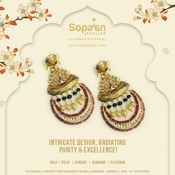 The pair of gold earrings, handcrafted to perfection and embellished with pearl , ruby & emerald beads, along with kundan! . Link:  https://bit.ly/2JNufJG . #SopaanJeweller💍💎💍 #roposo  #GoldEarrings #pearls#Kundan #WeddingJewellery #roposodiaries #GemStone#Diamond #GoldJewellery #jewellerylove #KumarNikkamal #KundanPolki #Ruby #Emerald #Gold#TraditionalJewellery #Picoftheday #Sopaan#Ludhiana