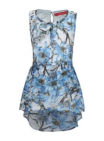 Monte Carlo - Girls Blue Printed Round Neck Dress  Link: https://bit.ly/2JG5Dz0  #MonteCarlo #MC #girlsdresses  #roposo #summercollection2018 #roposo-fashiondiaries  #ss18collection