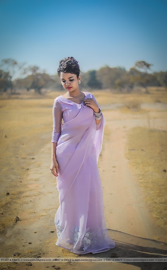 NEW COLLECTION PRICE: 8,942/-; US$ 135.00 ********************************************** Please visit Lavender Breeze Saree: https://www.eastandgrace.com/collections/all/products/lavender-breeze-saree  Featuring the Lavender Breeze pure silk-organza saree in light lavender with silver, white and lavender shaded floral motifs along the saree edges. The pintuck style blouse has long, chiffon sleeves with pearl lined cuffs, and peter pan collar in lace edging. It comes with an unstitched blended raw-silk printed blouse piece and an unstitched matching lycra-satin petticoat fabric.  Subscribe to our newsletter on our website to get latest updates on EAST & GRACE sarees.  For order related inquiries, please reach out to us at orders@eastandgrace.com.  For all other questions/comments/concerns or just some cool banter, get in touch at care@eastandgrace.com and someone will be available to assist you!  We are humbled by the tremendous response from different parts of the world. It's what keeps us going!  More beautiful designs coming soon your way… :)  With love, EAST & GRACE www.eastandgrace.com  #eastandgrace #saree #blouse #sari #desi #lehenga #ribbonembroidery #handembroidery #nature #fashion #fashionista #designer #photography #fashionphotography #naturephotography #purple #lavender #pureorganza #silkorganza #organza #eidmubarak #eid #eidmubarak2018 #happy #weekend #happyvibes #cute #ropo-love #madeinindia #like #indian #ropo-style