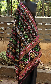 Black Colored Aari Worked In Multicolored Threads & Printed Foil Mirror Worked Cotton Dupatta Rs. 560 Our price is inclusive of GST taxes