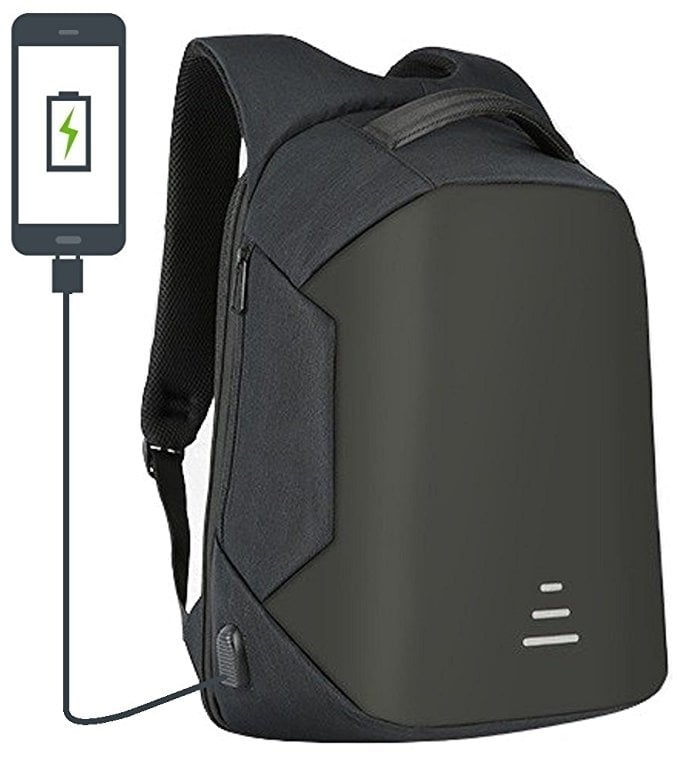 30 Litre Anti Theft Backpack With USB Charging Port - Black (Waterproof, Cut Proof, Durable, Anti-Theft)
