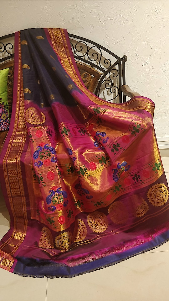 Midnight blue paithani with wine border #Indiancostume #Sari #Designer #Festivewear #Softsilksarees #Indiantraditionalsaree #Festiveseason #Exquisite #onlypaithani #Bridalsarees