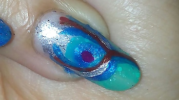 Peacock Fur Nail Art