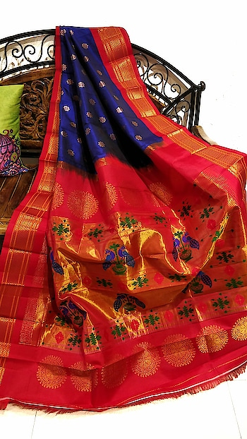 Blue paithani with red border #marathibride #trousseau #maharashtra #paithanisarees #maharathiwedding #inspiration #indiantradition #indiangroom #Handloomsaree