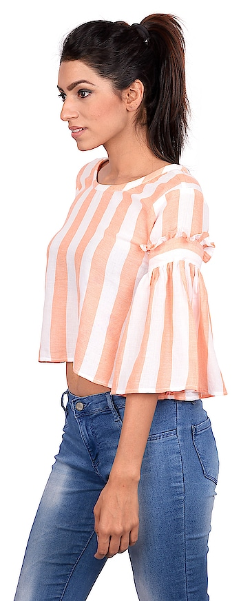 Stripes make everyone look better, this Peach and White top with vertical stripes enhances your already good looks. A style for all body types. Look leaner & lean on.  Click on chat to buy button to buy this top  #tagwithtog #needsnooccassion #fashionforbillion #fashiondesigner #fashionfreak #fashionblogger #mumbaifashionbloger #casual #casualwear #casualwearfashion #casuallook #casualdress #womenswear #women-fashion #women #women-branded-shopping #women-style #womens-fashion #casualweardaily #dailywear #casuals #casualoutfit #westernwear #womenwesternwear #staytuned #stayupdated #amazing #goodmorning