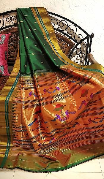 Bottle green paithani with rich pallu #Designersaree #India #Wedding #Ethnicsaree #Handloomsarees #Traditionalwear #SareeIndia #Madeinindia #UK #Weddingsaree #Sareeshopping