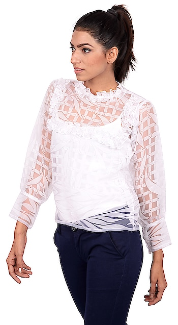 Sheer is in, flaunt your beautiful skin. This organza top in beautiful white with patterns spread across will make you feel at ease in this heat. Wear it with denims or one of our TagWithTog line of skirts. Go out and be pretty !  Click on chat to buy button to buy this top.  #tagwithtog #needsnooccassion #fashionforbillion #fashiondesigner #fashionfreak #fashionblogger #mumbaifashionbloger #casual #casualwear #casualwearfashion #casuallook #casualdress #womenswear #women-fashion #women #women-branded-shopping #women-style #womens-fashion #casualweardaily #dailywear #casuals #casualoutfit #westernwear #womenwesternwear #staytuned #stayupdated