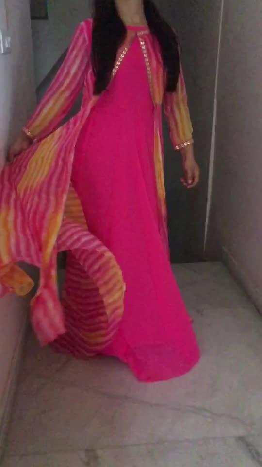 Shop this beautiful georgette jacket dress  for ₹3000 !! DM for order !! #ethnic #stylish #stylishclothes #indian #designer #summer #summercolours #pastels #sakshichaplawatlabel 🌸