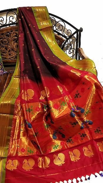 Coffe brown paithani with green border #elegancepersonified #weddingseason #Puresilk #Shopping #Desiwear #Wovenart #Maharastrian #Maharashtriansaree #Maharashtrianwedding
