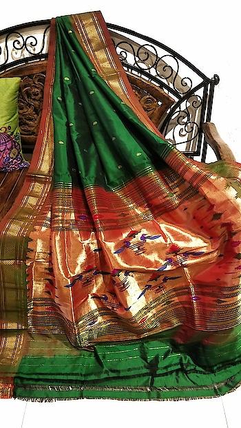 Green paithani with rust border #Traditional #Designer #Desistyle #Sareeindian #Sareefashion #Sareecollection #Sareeswag #Sareelover #sareeday #Sareetime #Mumbai #Clothing