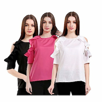 """https://www.amazon.in/dp/B07D11KV2G?th=1&psc=1 #GirlsShopping Crepe #ColdShoulder Ruffled Sleeves #Tops For Girls/Women(Pack of 3)     M.R.P.:   2,999.00  Sale Price:   990.00 You Save:   2,009.00 (67%)  Material- #Crepe , Pattern-Plain , Style-#CasualTop, Package Content -Pack of 3 Tops This #trendytop is Designed for comfort and #style, & Available In These Sizes- S,M,L & XL Team it with pair of #jegging and #flats to step out in style """"#girls #shopping stylish and #trendy Tops, which are comfortable in wear and gives you a fabulous look outfit. These Casual #stylish tops are wearable on #casual Occasions, Office Wear, Party Wear, College wear and on Other #festiveseasons.   """" This is a #Combo Tops (Pack of 3) so it also Reduces your buying cost as compared to buying one individual."""""""