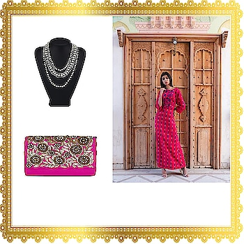 Affordable looks under 5k ! Look elegant in this red ikat print tunic and pink clutch bag.Buy this chic necklace and flaunt it for parties and event.We ship worldwide.Get 10% off when you sign up for the newsletter. #indianfashion#fashion #fashionblogger #blogger #beautiful #trendy #hot #couture #bag#style #week #beauty #men #fashionshow #fashionweek #women #winter #newyork #jewelry #whatiwore #designer images used for representation purpose only.