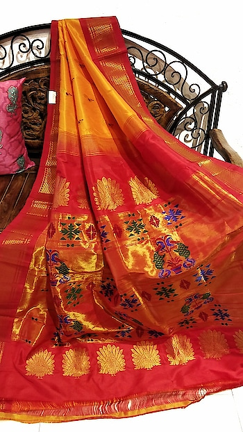 Yellow paithani with red border #marathibride #trousseau #maharashtra #paithanisarees #maharathiwedding #inspiration #indiantradition #indiangroom #Handloomsaree