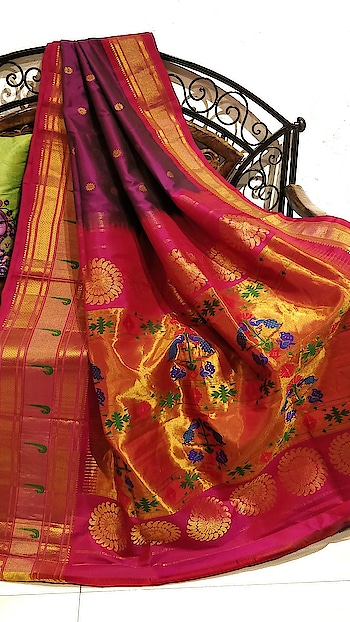 Wine paithani with broad muniya border #marathibride #trousseau #maharashtra #paithanisarees #maharathiwedding #inspiration #indiantradition #indiangroom #Handloomsaree
