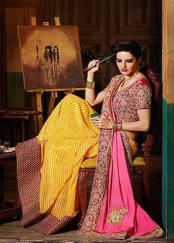 Traditional grandeur brought to life with sparkly embellishments in vibrant hues in this irresistible #Leheriya Print #yellow and #pink Saree available @ https://goo.gl/N3mTQC #beauty #flat50off #SareesOnline #BuyOnline #BuySareeOnline #OnlineShopping #surat #Mumbai #India #UnitedStates #USA #UK #canada #mauritius #australia #london #indiandrapes #paypal #like4like #ExpressShipping #FastDelivery #readytoship #manndola