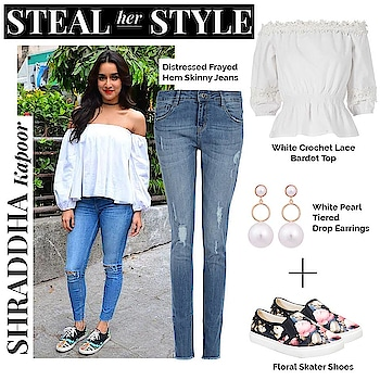 Stroll along the streets in style, like the super gorgeous Shraddha Kapoor!! Team the bardot top with a good pair of frayed denims to up your style game.  SHOP HER LOOK - https://goo.gl/e4VE95  #ropo-good #ropo-style #ropo-post #summer-style #shoppingonline #faballey #lookbook #stealthelook