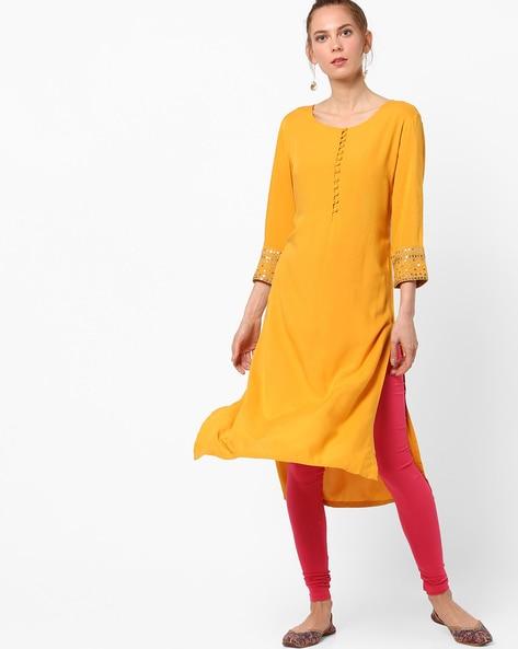 AJIO Straight Kurta with Embellished Sleeve Hems Rs. 900 Rs. 1,799 (50% off)  https://goo.gl/9xVjWv  #shopping #kurtis #kurtas #salwar #salwarsuit #onlineshopping #womenshopping #ajio #offer