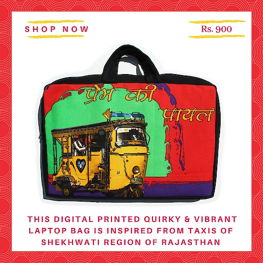 This digital printed quirky & vibrant laptop bag is inspired from taxis of Shekhwati region of Rajasthan and fit perfectly up to a 16 inches laptop.The bag also features two carrying handles and inside a zippered pocket for your travel cord and small items. A layer of Foam for a for extra protection. #laptopbag #canvasbag #sikar #designerbag #onlineshopping #buyonline #fashion #handbags #designerproducts #bagslover #indiandesigner #instafashion #instastyle #bags #Womens  #jaipur #streetstyle #fashionista #quirkyfashion  #quirkyaccessories #laptopbags  #taxi #fashion #fashionbag #handmade #vibrant #pop