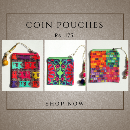 Digital Printed quirky & vibrant Coin Pouch is inspired from taxis of Shekhawati and  floral motif . This pouch is ideal for carry your cash, cards, keys and any other necessities in this compact coin purse. This Coin pouch comes with a zipper & decorative tassel for easy carrying.   #coinpouch #beg #pouch #quirky #fashion #rajasthan #canvaspouch #floralprint
