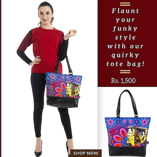 Flaunt your funky style with our quirky tote bag! The tote bag designs is inspired from taxis & painted havelis of Shekhawati region of Rajasthan. With gorgeous colour combinations and remarkable design highlights, its surely a must inclusion in every fashionistas closet.  #totebag #canvasbag #sikar #designerbag #onlineshopping #buyonline #fashion #handbags #designerproducts #bagslover #indiandesigner #instafashion #instastyle #bags #Womens #canvastotebag #jaipur #streetstyle #fashionista #quirkyfashion