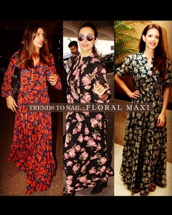 We always have #eyes on #celebs' #effortlessly #chic #style, but lately, we've taken #special note of their #expert #ability (and #propensity) to #rock one of #fall's most practical pieces—the #floral #maxi #dress.  #priyankachopra #malaikaarorakhan #kalkikoechlin  #IKnow #AW2017