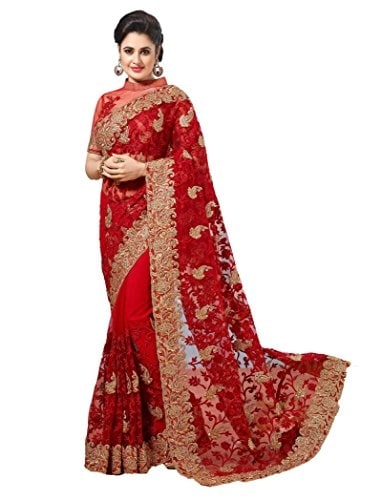 SareeShop Red Net Embroidered #Saree With #Blouse @ Rs.1899. Buy Now at http://bit.ly/2LoP4Zs