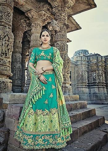 This wedding season, shop from our hand picked curation of top bridal lehengas! Grab this Stunning #seagreen and #green Bridal Lehenga @ https://goo.gl/yxfgYA #bridal #indianwedding #weddingfashion #bakraeid #bakraeidsale #eidsale #jashneeid #sundayfunday #designerwear #bridalfashion #designerlehenga #lehenga #brides #bridesmaid #bridalbling #manndola #USA #India #Canada #Australia #Dubai #UAE #Mauritius #London #Uk