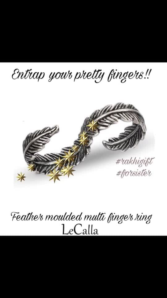 Entrap your pretty fingers in this trendy feather moulded finger ring. Order Now: https://goo.gl/emMHTQ  #LeCalla #Ordernow #Rakhigift #Flat20off #silver #multifinger #ring #buynow #handaccessory #ootd #photooftheday #unique #giftideas #forsister #rakhispecial #offer #instalove #instagood #instajewellery #roposolove #roposolove #roposotalks #trendyjewelry #elegant #exclusive