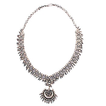 Silver necklace online is a must have jewelry for every woman! Shop here @ https://www.rajsi.in/products/necklaces.html #silvernecklace  #silvernecklaceonline