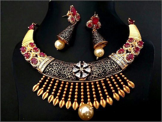 1 year warranty With Bill High class necklaces with Brass + American diamond Stones with fine minakari work and fresh water pearl. Length of earring is 4.8 centimeters and width is 1.5 centimeters and weight is 8.8 grams per earring and  weight of necklace is 57 grams For orders on mobile simply whatsapp on 7773000215 •Cash on delivery – Rs. 60 extra as COD charges, and Rs. 100 to be paid as booking amount now. At time of delivery you need to pay Rs. 100 less  •Online Payment: Upto 15% cash back (maximum) + Free Shipping   #jewelry #jewelrydesigner #jewelrymaking #jewelryforsale #jewelryart #jewelrybloger #jewelryshow #jewelryset #jewelrysupply #jewelrybrand jewelrystyle #jewelryparty #jewelrymaker #jewelrystore #jewelryofig #jewelryporn #jewelryshop #jewelrylove #jewelryswag #jewelrygoals #jewelryonetsy #jewelrysale #jewelrylovers #jewelrygifts #jeweleryfashion #jewelrysupplies #jewelrybotique #jewelrylover #jewelrydesign