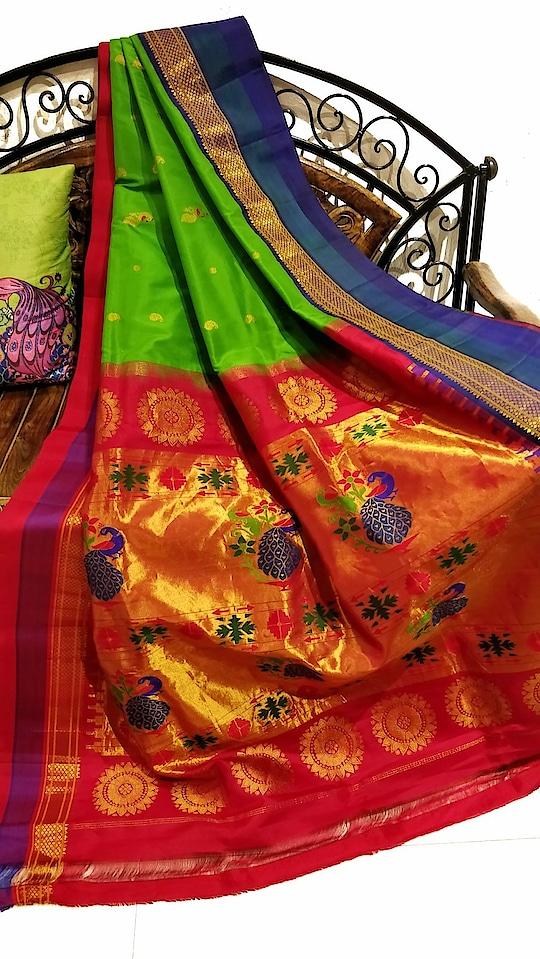 Parrot green paithani with gangajamuna border.  Visit www.OnlyPaithani.com to shop now.  #Designersaree #India #Wedding #Ethnicsaree #Handloomsarees #Traditionalwear #SareeIndia #Madeinindia #UK #Weddingsaree #Sareeshopping