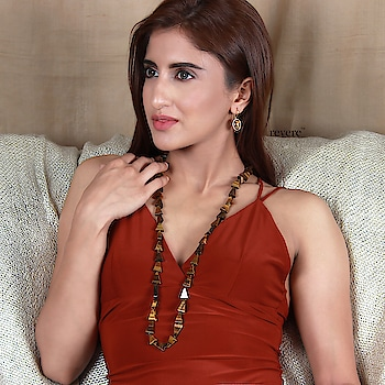 Tiger-eye glory, neckpiece & earrings in this fascinating gemstone. Shop at www.revere.co.in. enquire at care@revere.co.in #revere #ropo-beauty #partystarter #model #neckpiece #earringsoftheday #goodvibes #jewellerydesigner #reddress #tigereye #jewellery #natural #beauty #longnecklace #pink  #nudemakeup #fun #weekend #pearls #fashionblogger #tigereyegemstone #necklaceoftheday #celebritystyle #happy #indianwear #befashionable