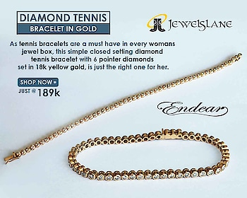 As #tennis #bracelets are a must have in every womans #jewel_box, this simple closed setting #diamond #tennis #bracelet with 6 pointer #diamonds set in 18k yellow #gold, is just the right one for her. #Endear #Jewelslane - Shop Now @ http://bit.ly/2M1T3id