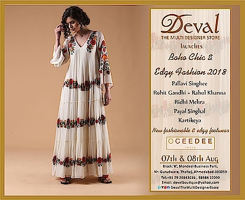 ✨✨Deval The Multi Designer Store launches Boho Chic & Edgy Fashion 2018 along with New fashionable and edgy footwear by Oceedee ✨✨    07th & 08th August    For more details please whatsapp us +91 98984 22000 #devalstore #ahmedabad #aw18 #bohochic #designercollection #designerwear #designerstore #newarrival #latestcollection