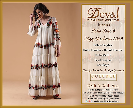 ✨✨Deval The Multi Designer Store launches Boho Chic & Edgy Fashion 2018 along with New fashionable and edgy footwear by Oceedee ✨✨ || 07th & 08th August || For more details please whatsapp us +91 98984 22000 #devalstore #ahmedabad #aw18 #bohochic #designercollection #designerwear #designerstore #newarrival #latestcollection