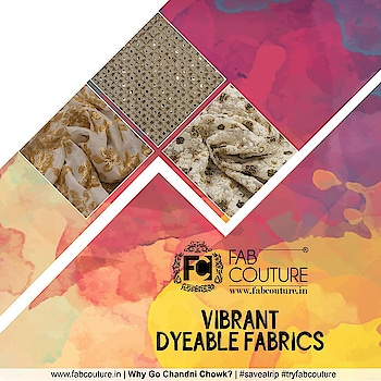 #Colours come together to add a touch of #vibrancy. Fab Couture brings exclusive collection of #dyeable #fabrics to make your wardrobe more colorful. Grab your fabric at : https://fabcouture.in/ #FabCouture! #DesignerFabric at #AffordablePrices #DesignerDresses #Fabric #Fashion #DesignerWear #ModernWomen #DesiLook #Embroidered #WeddingFashion #EthnicAttire #WesternLook #affordablefashion #GreatDesignsStartwithGreatFabrics #LightnBrightColors #StandApartfromtheCrowd #EmbroideredFabrics