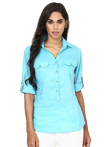 Lakshita - Sky Blue Plain T-shirt  Link: https://bit.ly/2vuWT9U  #Lakshita #roposo #womenfashion #roposodiaries #womenstyle #lakshitainternational