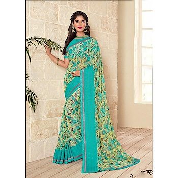 Look Simply Pretty In This Blue Colored Saree Paired With Turquoise Blue Colored Blouse. This Saree And Blouse are Fabricated On Georgette Beautified With Prints. It Is Light Weight And Easy To Carry All Day Long.  ✔ #Blue #Colored #Saree #Paired #With #Turquoise #Blue #Colored #Blouse ✔ Shop https://tinyurl.com/y8q7fafq ✔ Price : Rs. 2449/- ✔ Product Code : 1054-PRN1367 ✔ Call or Whatsapp : 9582775828