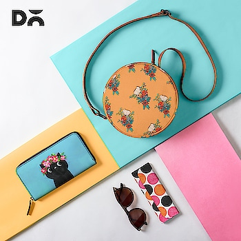 We're a color person and we like to play with colors all the time. . Products in picture Orbis Crossbody Bag  Foldaway Eyewear Case  Classic Wallet   Are you a color person too? Shop Now at www.dailyobjects.com   #crossbodybags #wallets #eyewearcase #slingbags #colours #eyewear #fashionaccessories #art #patterns #cat #floralart #foldaway #flatlay #everydaycarry #organiser #hacks #styletips #fashiontrend